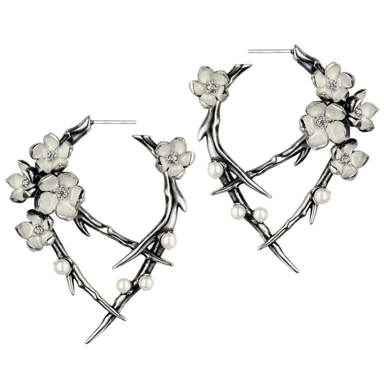 Diamond and Pearl Silver Cherry Blossom Earrings by Shaun Leane  For Sale