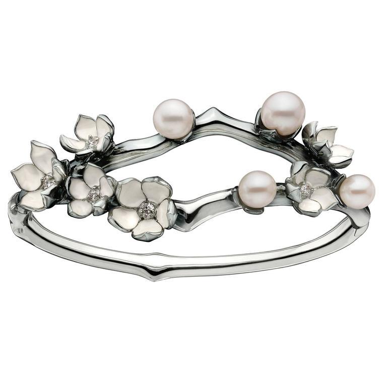 Shaun Leane Pearl Diamond Silver Cherry Blossom Cuff Bracelet For Sale
