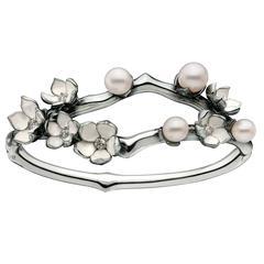 Shaun Leane Pearl Diamond Silver Cherry Blossom Cuff Bracelet