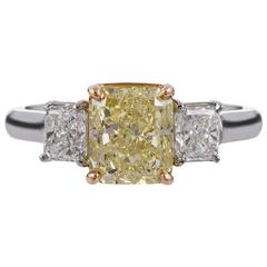 3.00 Carat Radiant Fancy Yellow Diamond Three-Stone Ring