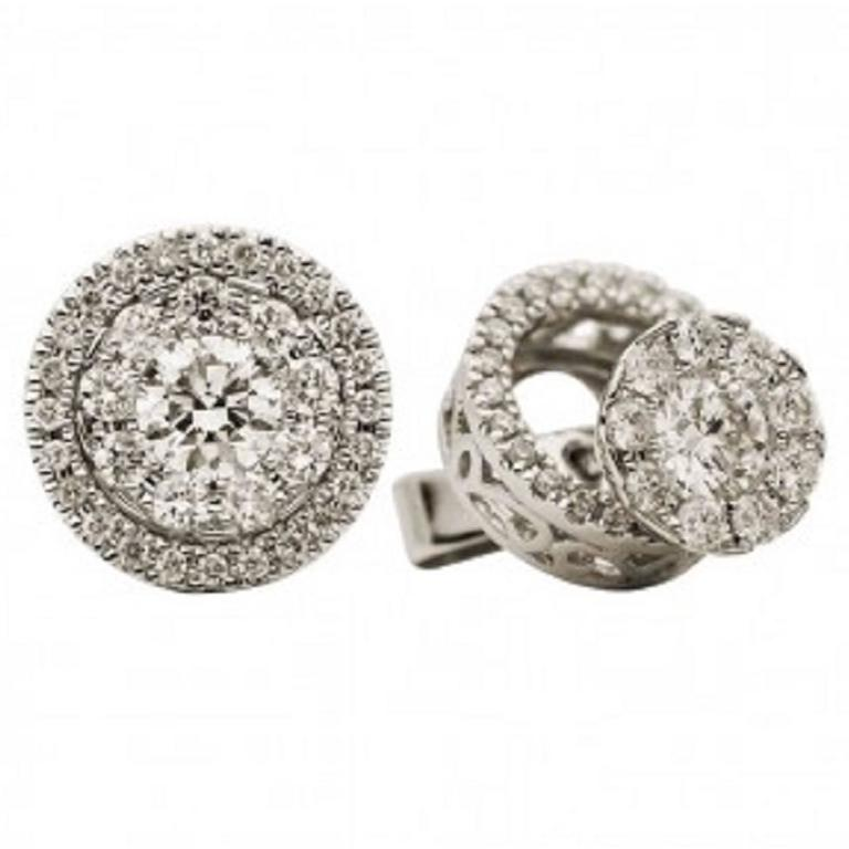 Brilliant Diamond Gold  Cluster Stud Earrings 0.90 Cts.