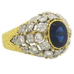 Buccellati Gold Diamond Sapphire Cocktail Ring