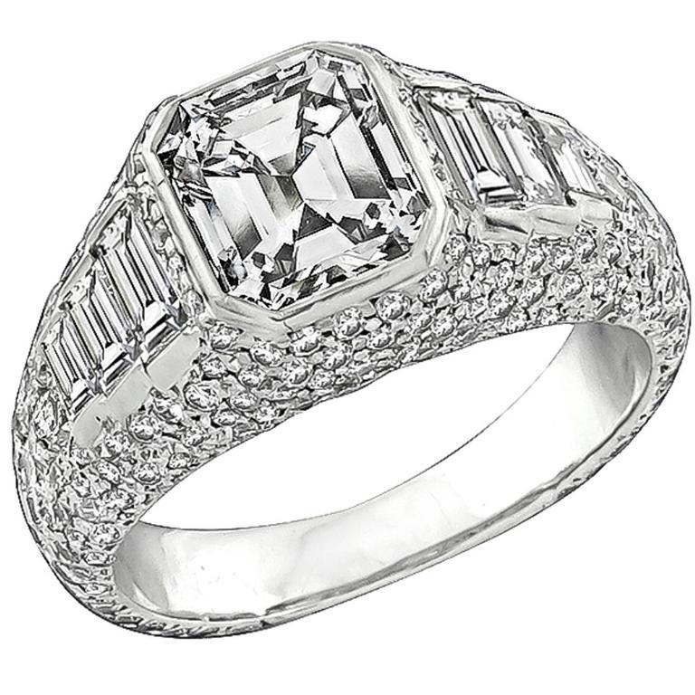 2.02 Carat Emerald Cut Diamond Platinum Engagement Ring