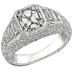 2.02 Carat Emerald Cut Diamond Platinum Engagement Ring