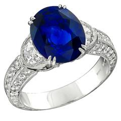 4.71 Carat Oval Cut Sapphire Diamond Platinum Ring