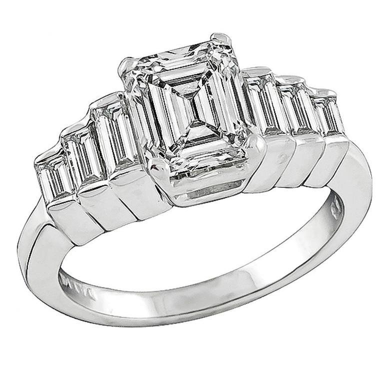 2.01 Carat GIA Cert Emerald Cut Diamond Gold Engagement Ring