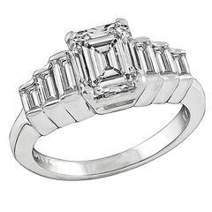 2.01 Carat GIA Cert Emerald Cut Diamond Gold Engagement Ring
