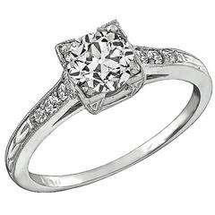 1.02 Carat Old Mine Cut Diamond Platinum Engagement Ring
