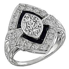 GIA 1.01ct Marquise Cut Diamond Onyx Engagement Ring