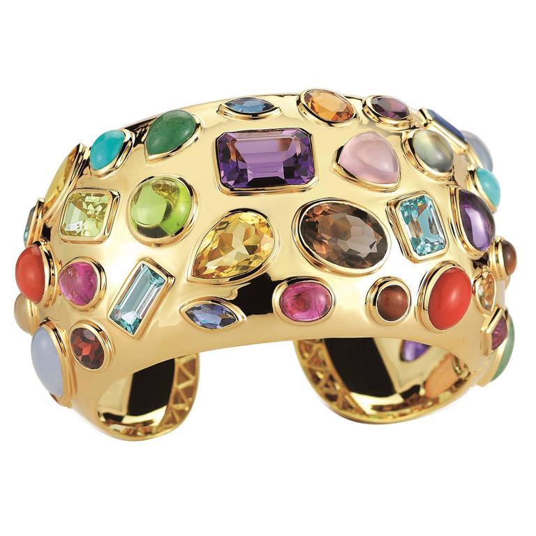 Seaman Schepps Multicolored Stone Gold Cuff Bracelet