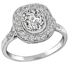 1.45 Carat GIA Certified Old Mine Cut Diamond Platinum Halo Engagement Ring