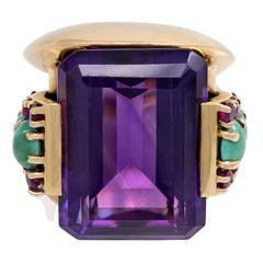 1940s Amethyst Gold Cocktail Ring with Turquoise and Ruby Accents