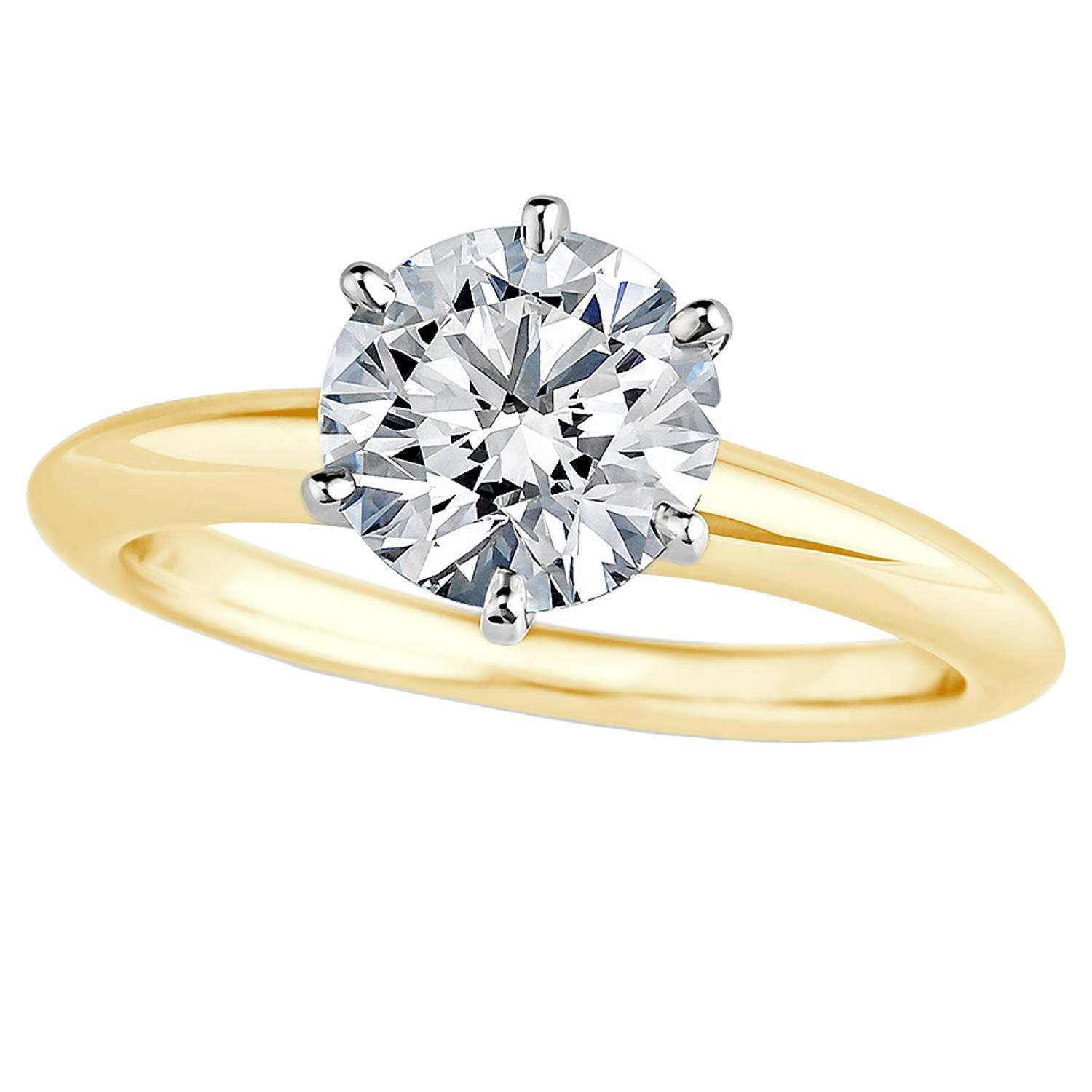 Tiffany and Co 71 Carat Diamond Gold Platinum Engagement Ring at