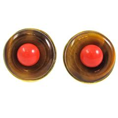 Cartier Tiger's Eye Coral Gold Earclips