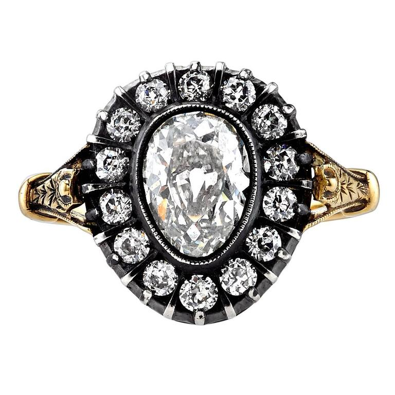1.27 Carat Pear Shaped Antique Cut Diamond Silver Gold Engagement Ring