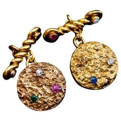 Antique Jeweled Gold Nugget Cufflinks