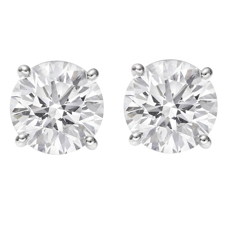 Betteridge Round Brilliant Diamond Stud Earrings (307 Ct Tw) At 1stdibs