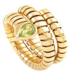 Bulgari Tubogas Peridot Gold Ring