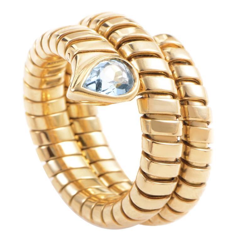 Bulgari Tubogas Topaz Gold Ring For Sale