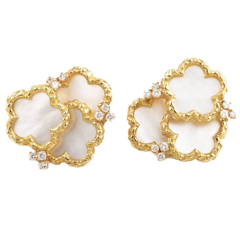 Chaumet Yellow Gold Mother Of Pearl And Diamond Clip On Earrings For