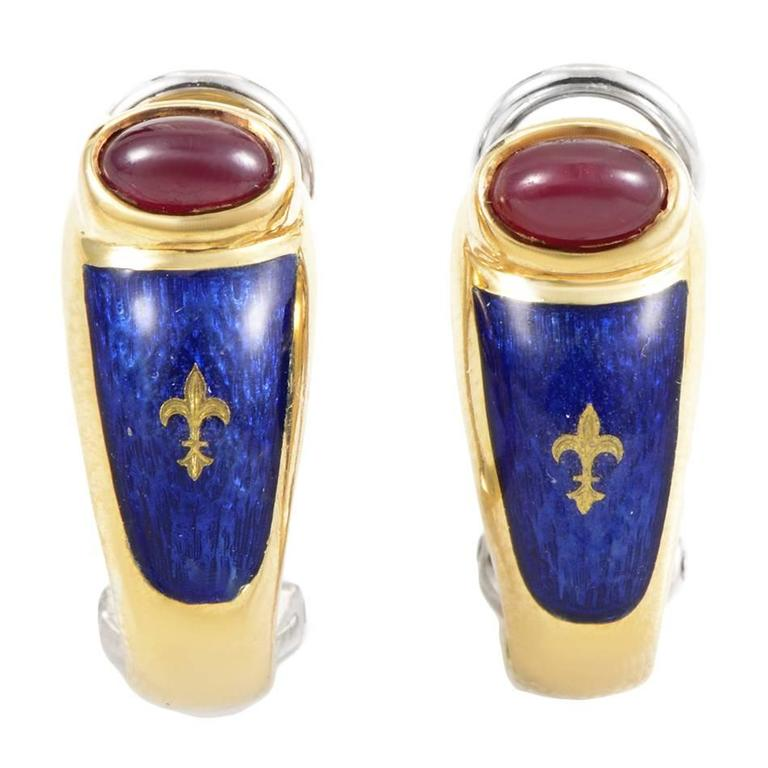 Modern House of Faberge Enamel Ruby Gold Clip-On Earrings
