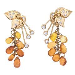 Sapphire Diamond Gold Sweetpea Dangle Earrings