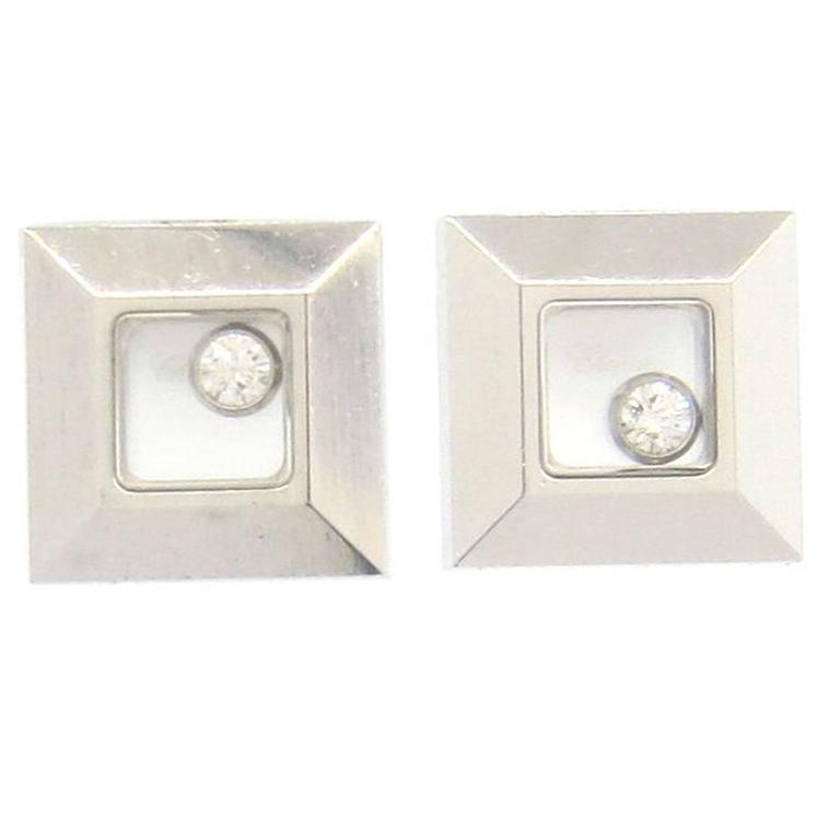 Chopard Hy Diamonds Gold Floating Diamond Square Earrings For
