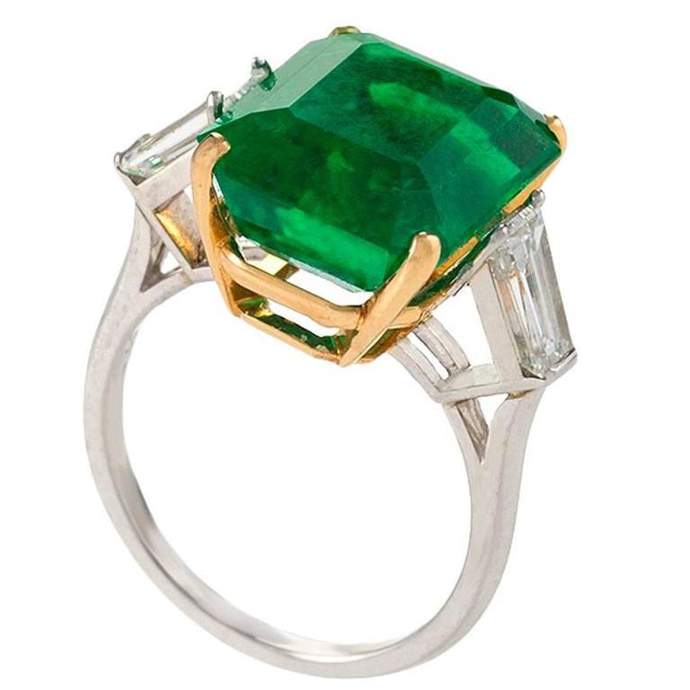 Estate Colombian Emerald Diamond Platinum Ring