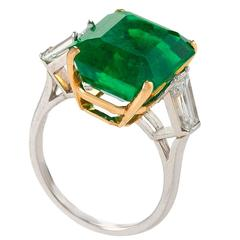 Estate Colombian Emerald Diamond Platinum Ring