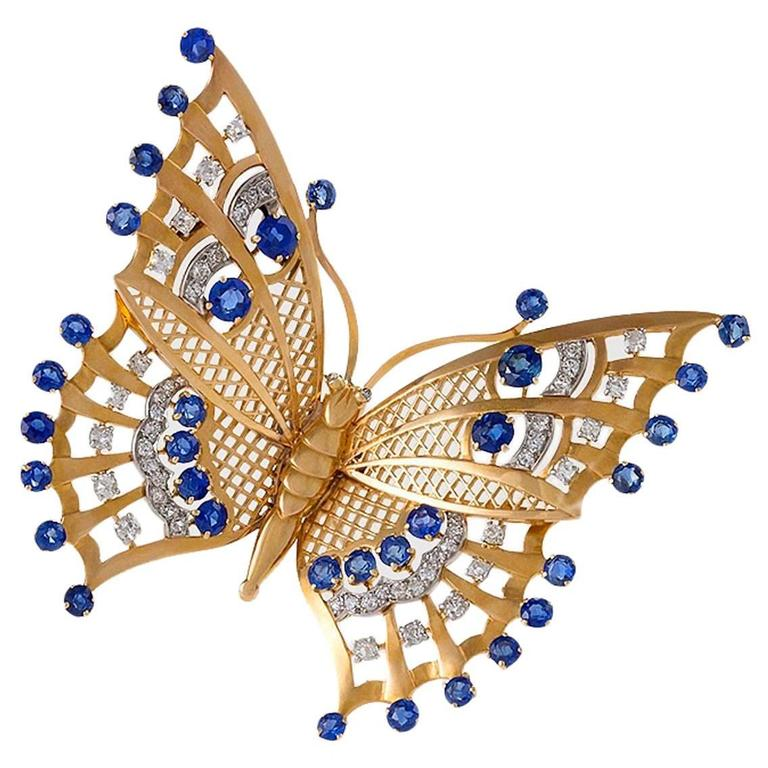 Mauboussin Paris 1930's Art Deco Sapphire Diamond Gold Butterfly Brooch