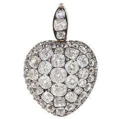 Antique Diamond, Gold and Silver Heart Pendant