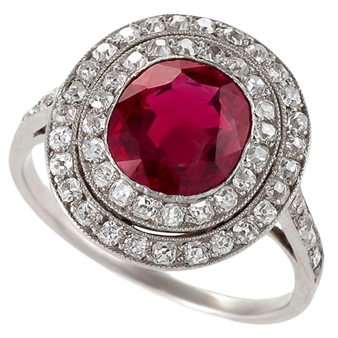 No-Heat Burmese Ruby and Diamond Halo Ring