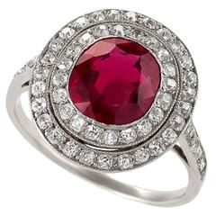 Art Deco Burma Ruby, Diamond and Platinum Ring