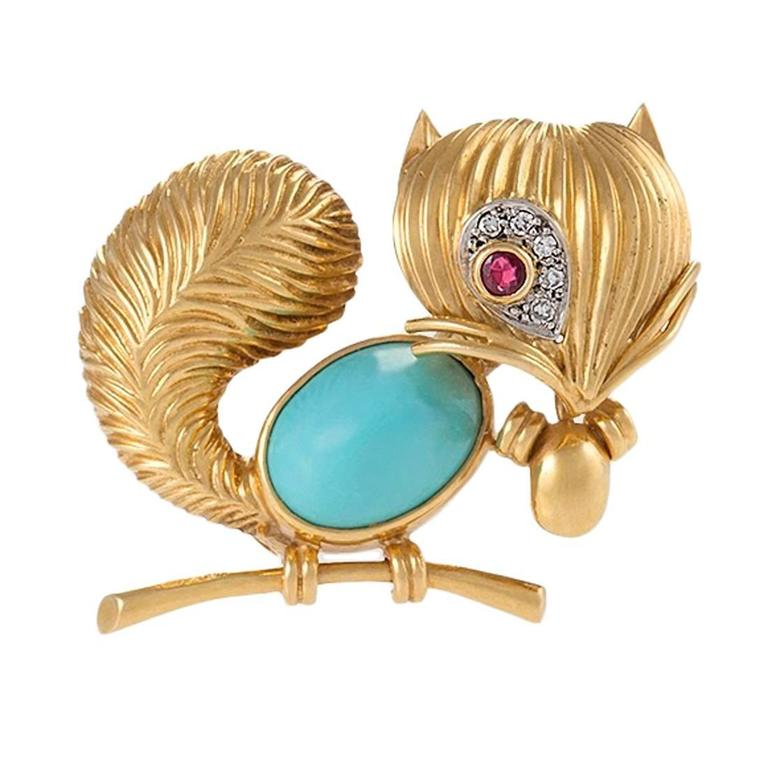 Van Cleef & Arpels Paris Turquoise, Ruby, Diamond, Gold Squirrel Brooch For Sale