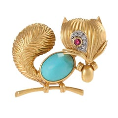 Van Cleef & Arpels Paris Turquoise, Ruby, Diamond, Gold Squirrel Brooch
