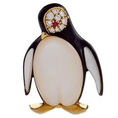 Van Cleef & Arpels Paris Diamond, Ruby and Mother-of-Pearl Penguin Brooch