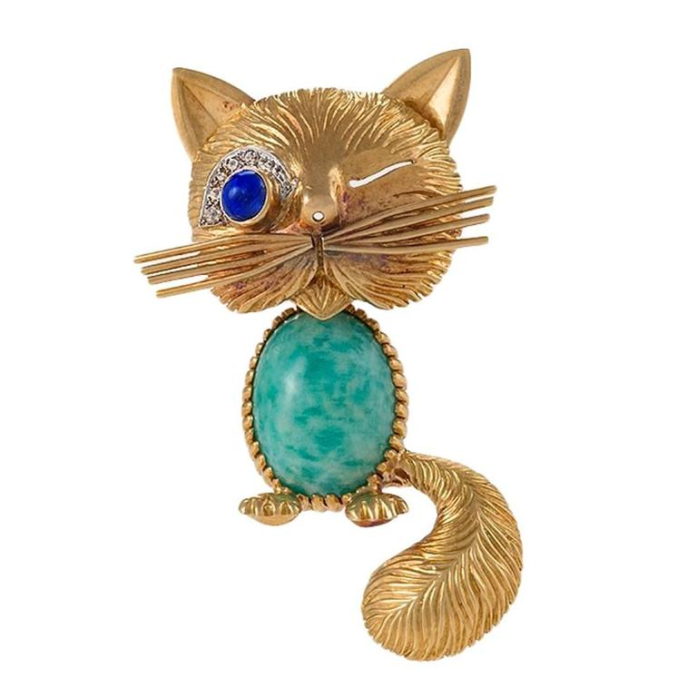Van Cleef & Arpels Paris Turquoise, Diamond, Blue Sapphire and Gold Cat Brooch 1