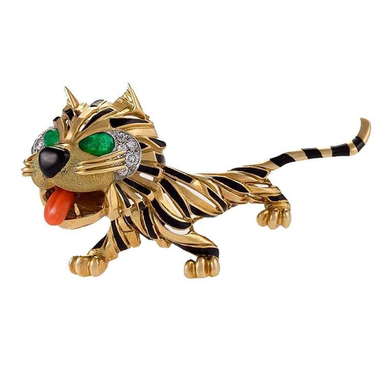 Van Cleef & Arpels Paris Diamond, Emerald, Coral, Enamel and Gold Tiger Brooch