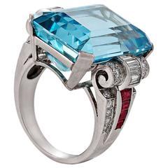 1940's Retro Aquamarine, Diamond, Ruby and Platinum Ring