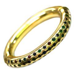 Italian 1970s Multicolor Gem-Set Gold Bangle