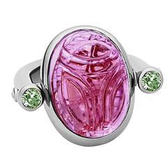 Colleen B. Rosenblat Rubellite Sapphire Gold Scarab Ring