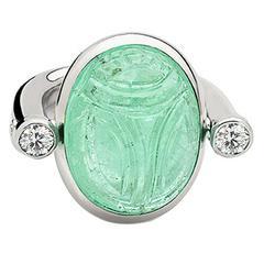 Colleen B. Rosenblat Paraiba Tourmaline Diamond Gold Scarab Ring