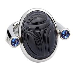 Colleen B. Rosenblat onyx sapphire gold scarab ring