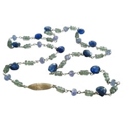 Dalben Green Sapphire Tanzanite Gold Necklace