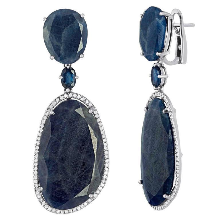Sliced Sapphire Diamond White Gold Drop Earrings