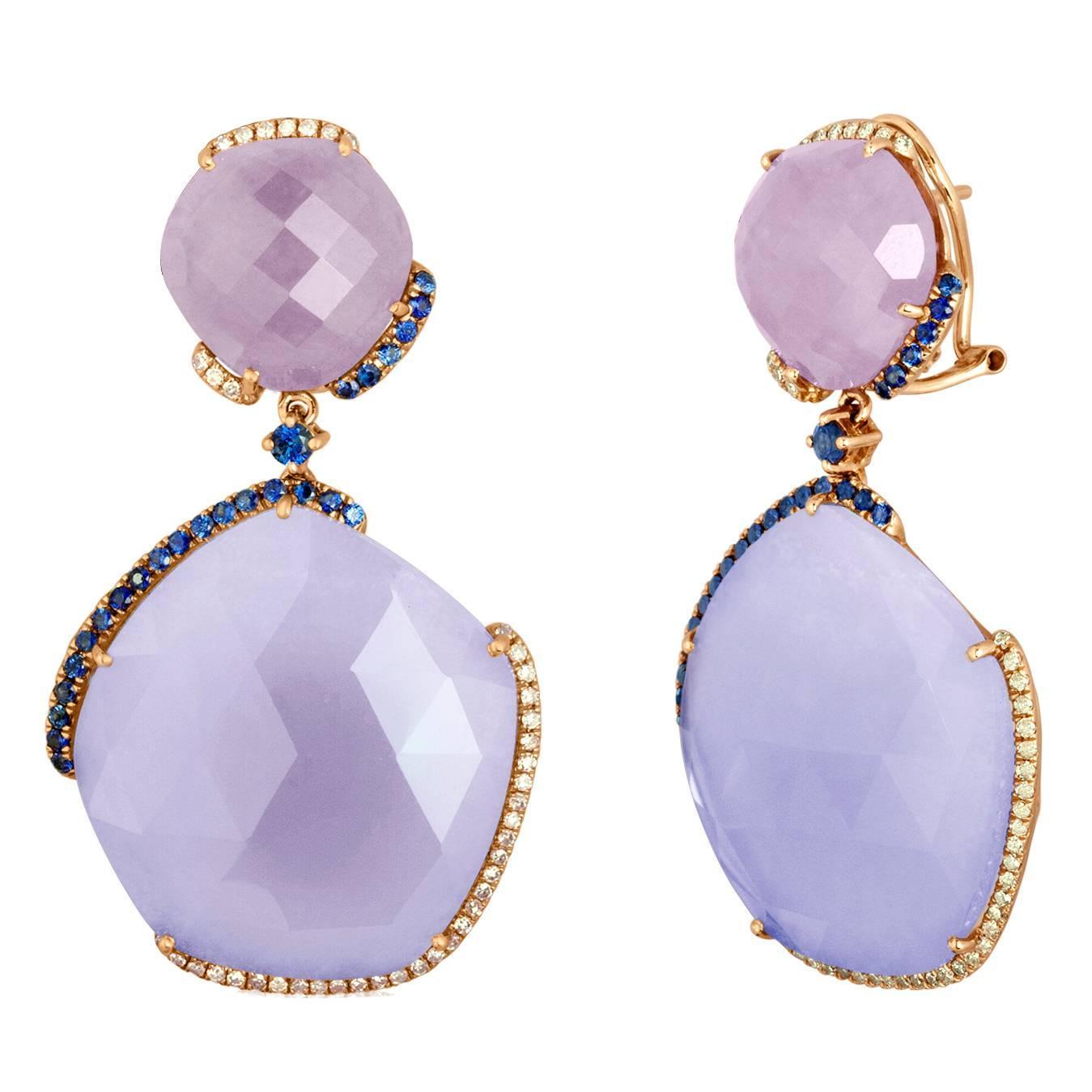 61.22 Carats Chalcedony Purple Jade Sapphire Gold Drop Earrings