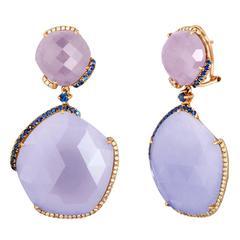Chalcedony Purple Jade Sapphire Gold Drop Earrings