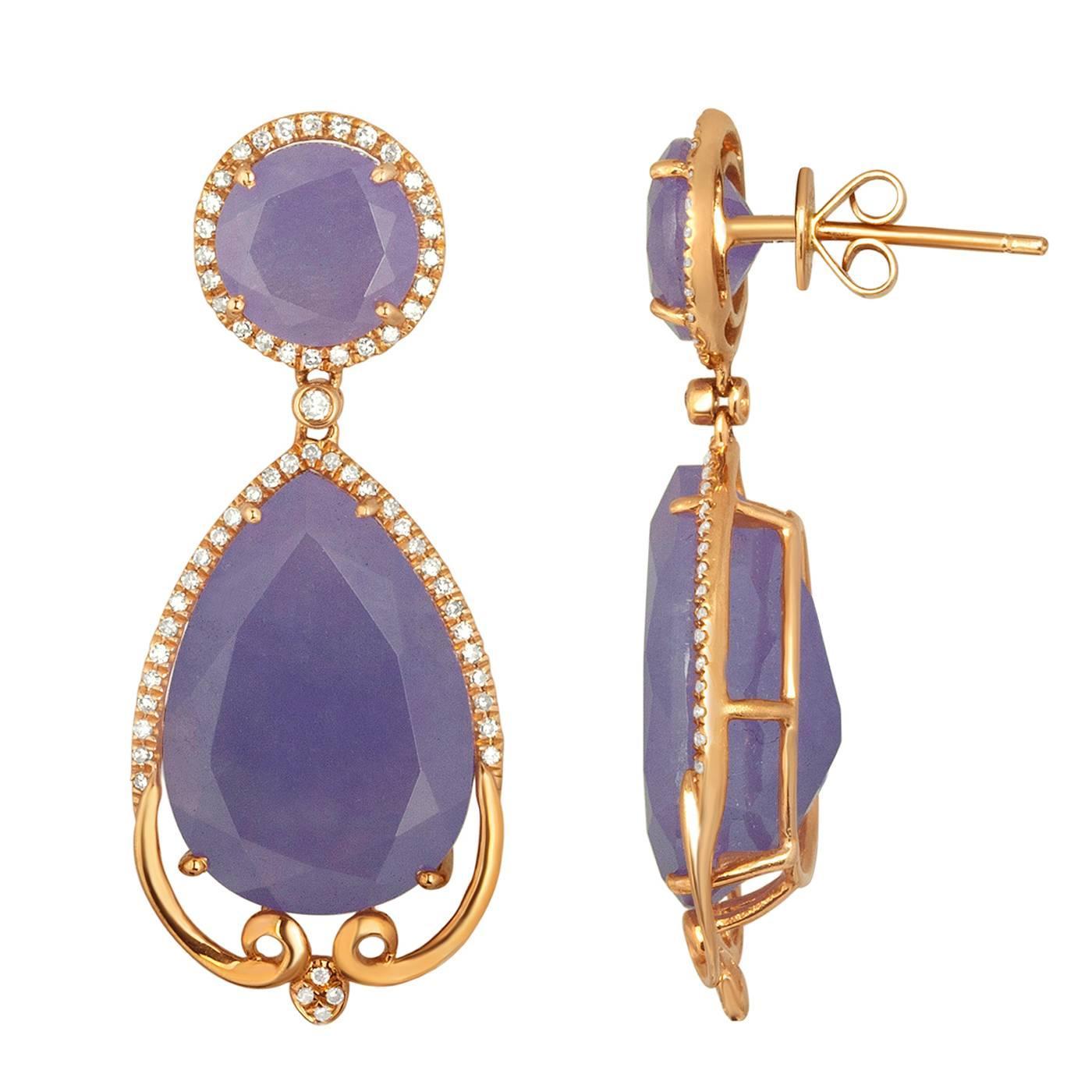 38.25 Carats Purple Color Jade  Diamond Drop Earrings