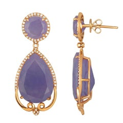 38.25 Carats Purple Color Jade  Diamond Drop Earrings
