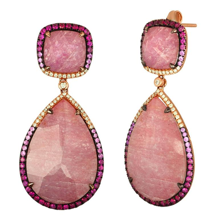Triplet Pink Sapphire MOP Rock Crystal Diamond Gold Drop Earrings